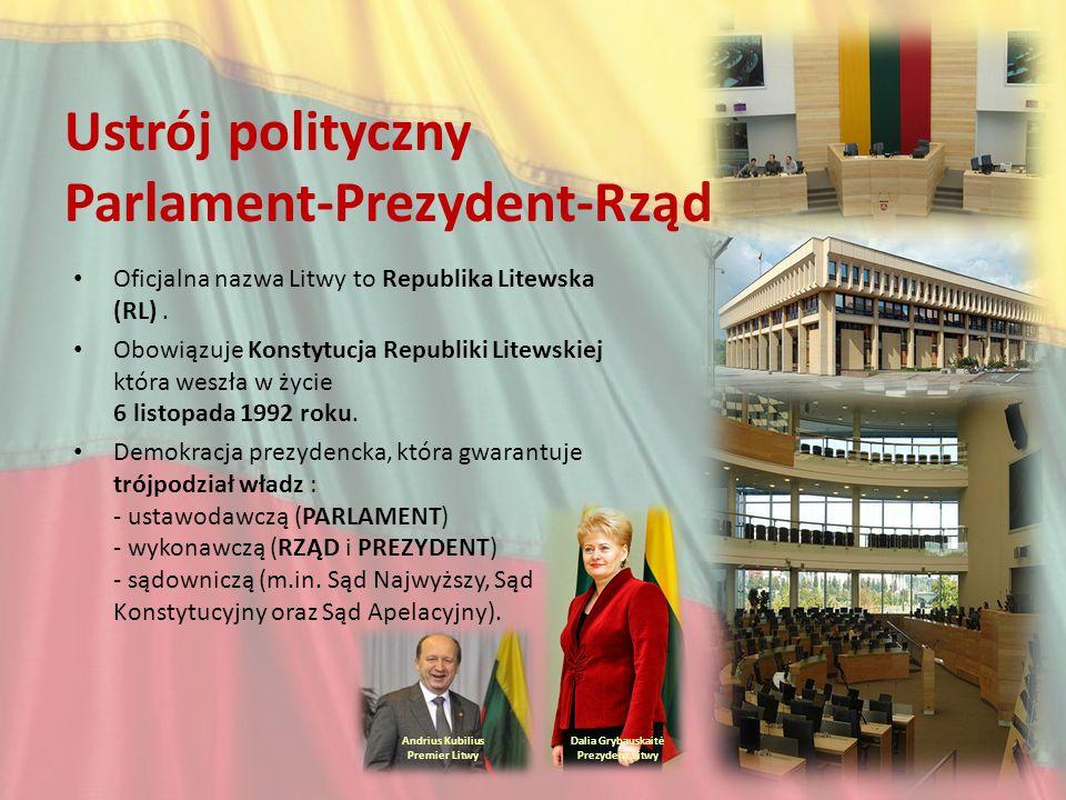 Ustrój polityczny Parlament-Prezydent-Rząd Oficjalna nazwa Litwy to Republika Litewska (RL). Obowiązuje Konstytucja Republiki Litewskiej która weszła