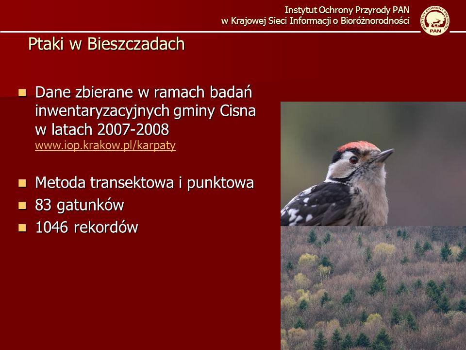 Instytut Ochrony Przyrody PAN w Krajowej Sieci Informacji o Bioróżnorodności Ptaki w Bieszczadach Dane zbierane w ramach badań inwentaryzacyjnych gmin