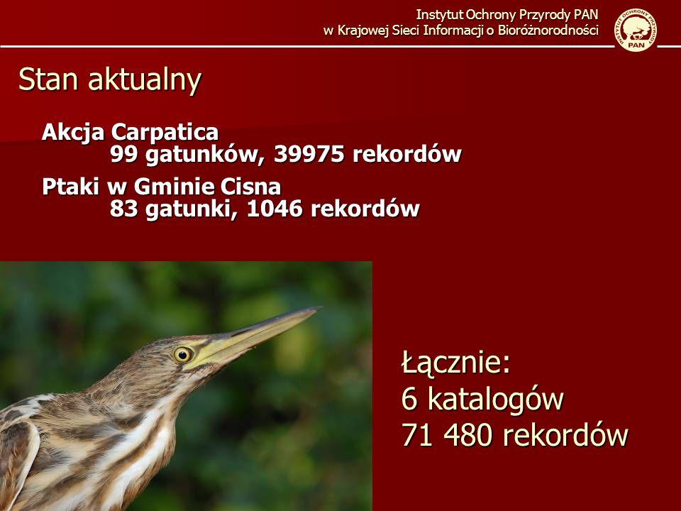 Akcja Carpatica 99 gatunków, 39975 rekordów Ptaki w Gminie Cisna 83 gatunki, 1046 rekordów Instytut Ochrony Przyrody PAN w Krajowej Sieci Informacji o