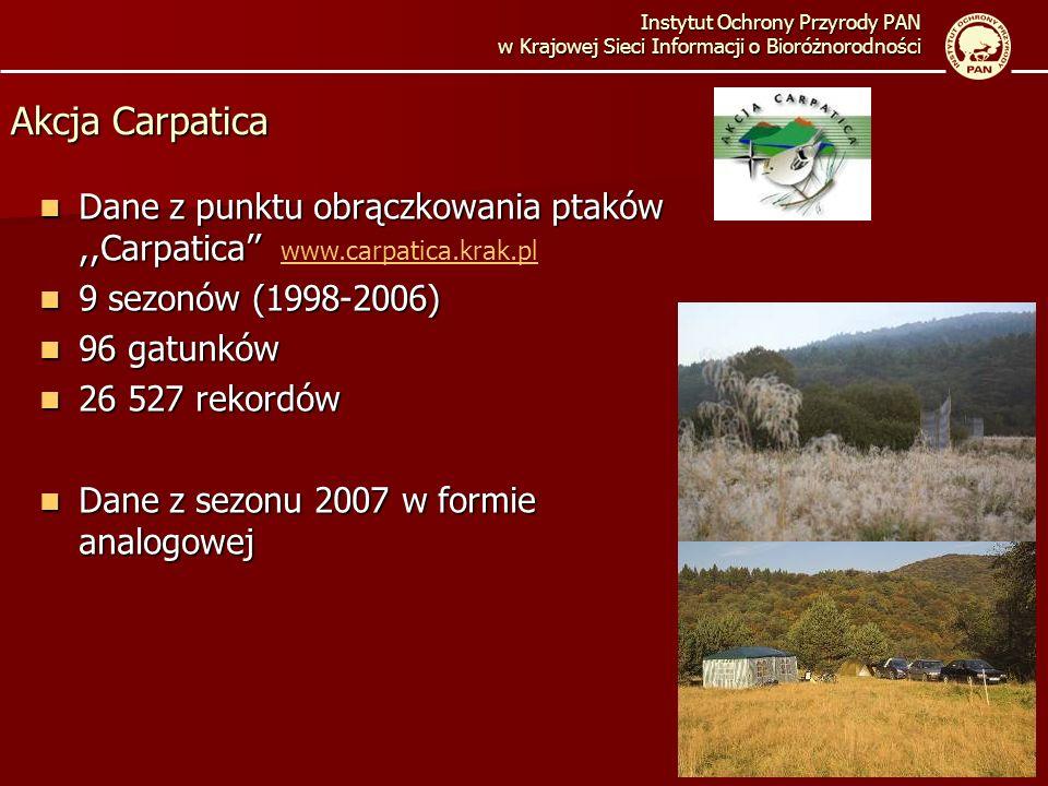Instytut Ochrony Przyrody PAN w Krajowej Sieci Informacji o Bioróżnorodności Akcja Carpatica Dane z punktu obrączkowania ptaków,,Carpatica Dane z punktu obrączkowania ptaków,,Carpatica www.carpatica.krak.pl www.carpatica.krak.pl 9 sezonów (1998-2006) 9 sezonów (1998-2006) 96 gatunków 96 gatunków 26 527 rekordów 26 527 rekordów Dane z sezonu 2007 w formie analogowej Dane z sezonu 2007 w formie analogowej
