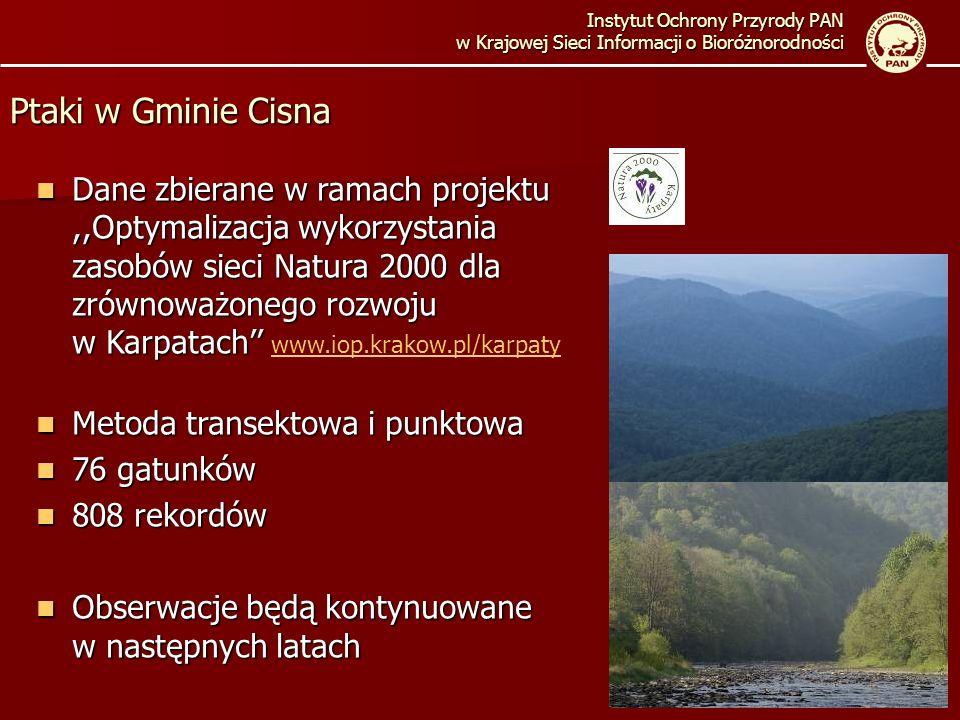 Instytut Ochrony Przyrody PAN w Krajowej Sieci Informacji o Bioróżnorodności Ptaki w Gminie Cisna Dane zbierane w ramach projektu,,Optymalizacja wykorzystania zasobów sieci Natura 2000 dla zrównoważonego rozwoju w Karpatach Dane zbierane w ramach projektu,,Optymalizacja wykorzystania zasobów sieci Natura 2000 dla zrównoważonego rozwoju w Karpatach www.iop.krakow.pl/karpaty www.iop.krakow.pl/karpaty Metoda transektowa i punktowa Metoda transektowa i punktowa 76 gatunków 76 gatunków 808 rekordów 808 rekordów Obserwacje będą kontynuowane w następnych latach Obserwacje będą kontynuowane w następnych latach