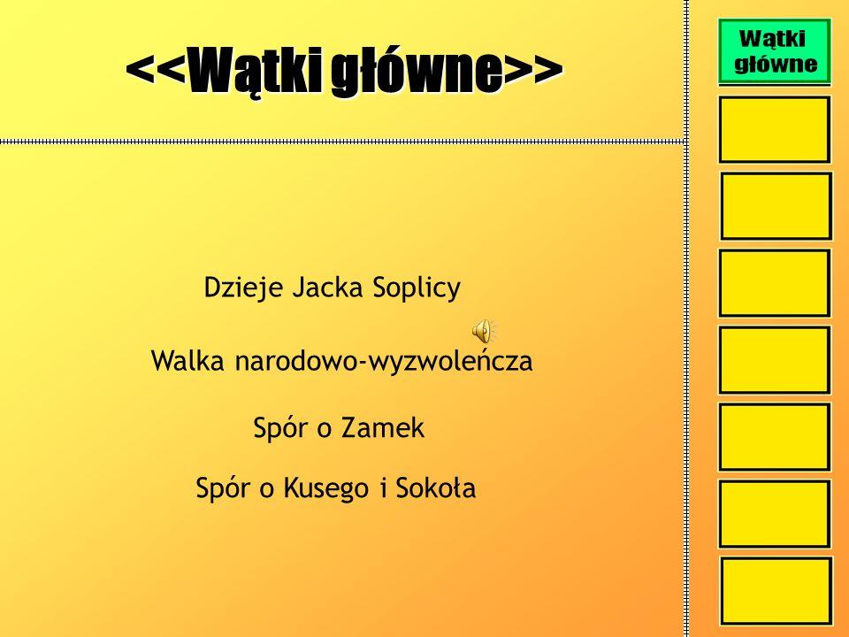 <<Wątki główne>> Dzieje Jacka Soplicy Walka narodowo-wyzwoleńcza Spór o Zamek Spór o Kusego i Sokoła
