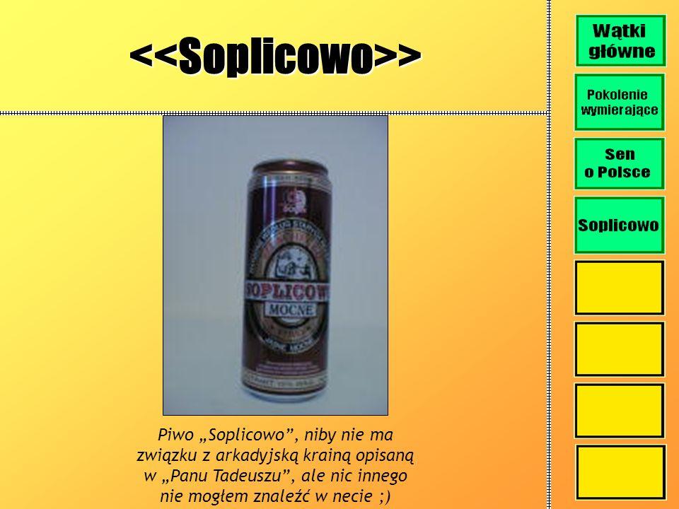 <<Soplicowo>> Piwo Soplicowo, niby nie ma związku z arkadyjską krainą opisaną w Panu Tadeuszu, ale nic innego nie mogłem znaleźć w necie ;)