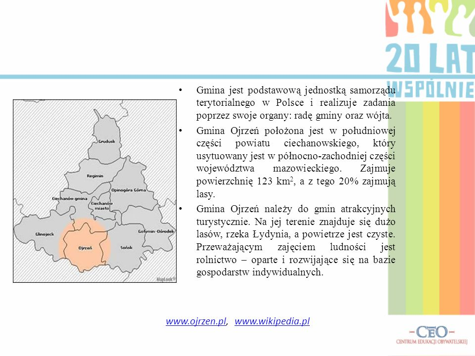 Gmina jest podstawową jednostką samorządu terytorialnego w Polsce i realizuje zadania poprzez swoje organy: radę gminy oraz wójta. Gmina Ojrzeń położo