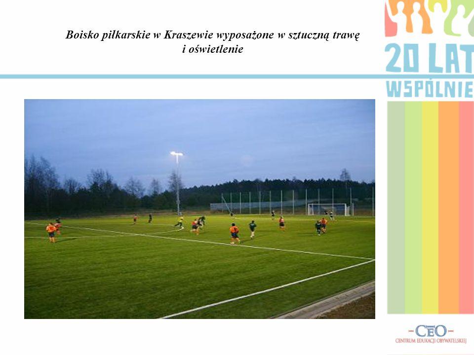 Boisko piłkarskie w Kraszewie wyposażone w sztuczną trawę i oświetlenie