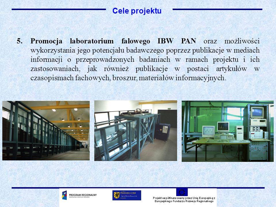 5.Promocja laboratorium falowego IBW PAN oraz możliwości wykorzystania jego potencjału badawczego poprzez publikacje w mediach informacji o przeprowadzonych badaniach w ramach projektu i ich zastosowaniach, jak również publikacje w postaci artykułów w czasopismach fachowych, broszur, materiałów informacyjnych.