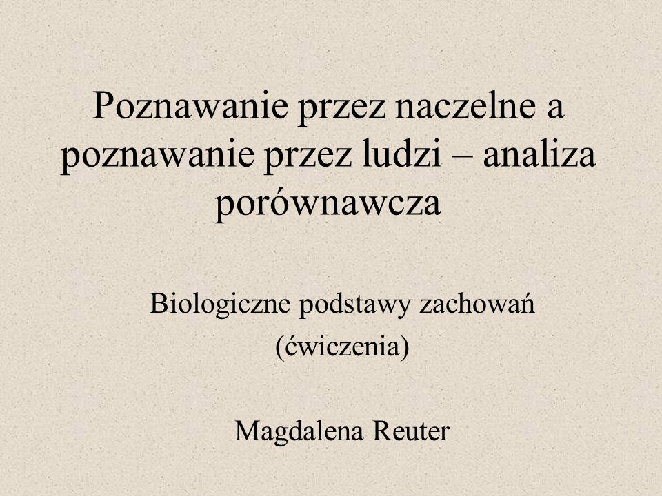 Poznawanie przez naczelne a poznawanie przez ludzi – analiza porównawcza Biologiczne podstawy zachowań (ćwiczenia) Magdalena Reuter
