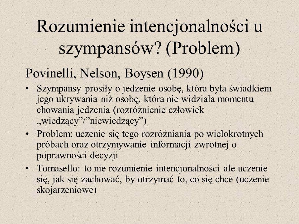 Rozumienie intencjonalności u szympansów? (Problem) Povinelli, Nelson, Boysen (1990) Szympansy prosiły o jedzenie osobę, która była świadkiem jego ukr