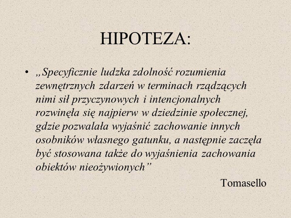 HIPOTEZA: Specyficznie ludzka zdolność rozumienia zewnętrznych zdarzeń w terminach rządzących nimi sił przyczynowych i intencjonalnych rozwinęła się n