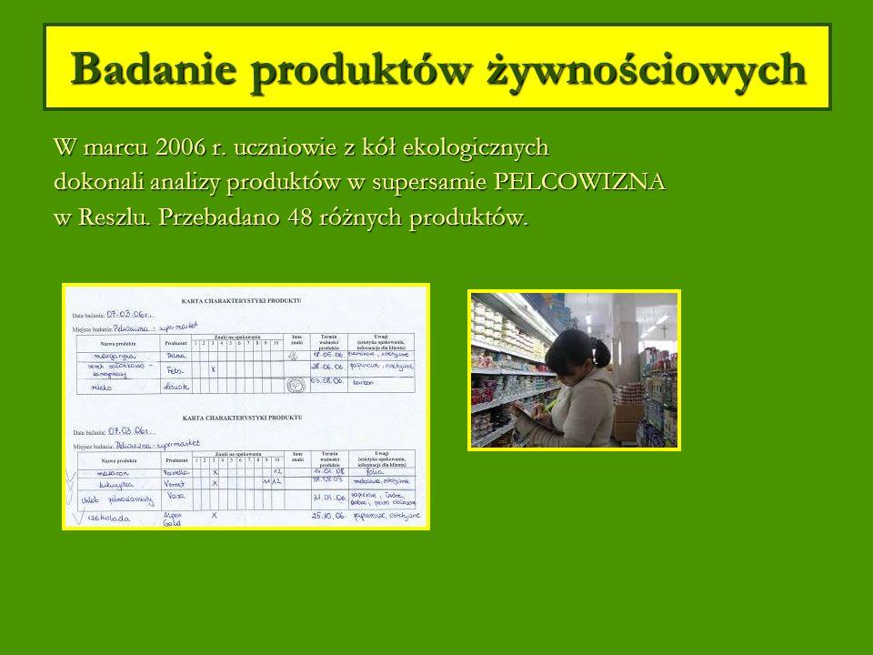 Badanie produktów żywnościowych W marcu 2006 r.
