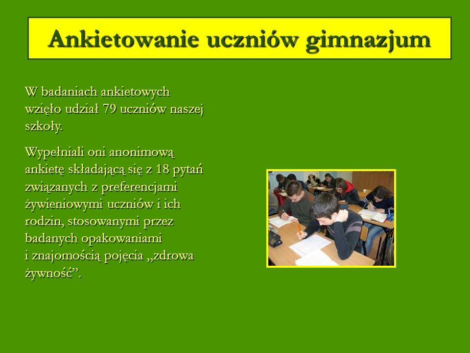 Ankietowanie uczniów gimnazjum W badaniach ankietowych wzięło udział 79 uczniów naszej szkoły.