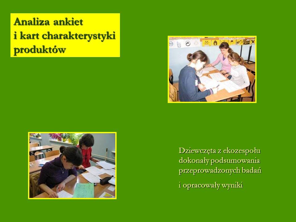 Analiza ankiet i kart charakterystyki produktów Dziewczęta z ekozespołu dokonały podsumowania przeprowadzonych badań i opracowały wyniki
