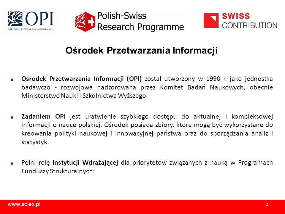 www.sciex.pl 3 Ośrodek Przetwarzania Informacji Instytucja Wdrażająca: Innowacyjna Gospodarka Infrastruktura i Środowisko Polsko - Norweski Fundusz Badań Naukowych Polsko – Szwajcarski Program Badawczy