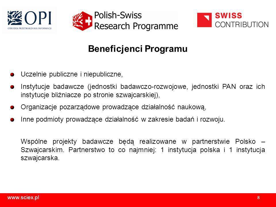 www.sciex.pl 9 Etapy wyboru projektów ocena formalna przeprowadzana przez Instytucję Realizującą ocena merytoryczna dokonywana przez polskich, szwajcarskich i międzynarodowych ekspertów ranking projektów wraz z uzyskaną punktacją decyzja o dofinansowaniu podejmowana przez Wspólny Polsko – Szwajcarski Komitet ds.