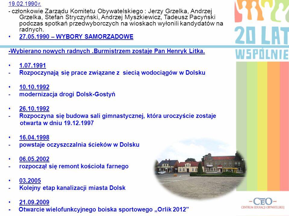19.02.1990 r. - członkowie Zarządu Komitetu Obywatelskiego : Jerzy Grzelka, Andrzej Grzelka, Stefan Stryczyński, Andrzej Myszkiewicz, Tadeusz Pacyński