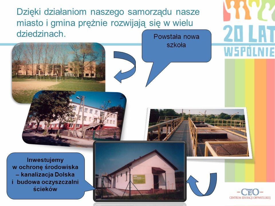 Dzięki działaniom naszego samorządu nasze miasto i gmina prężnie rozwijają się w wielu dziedzinach. Powstała nowa szkoła Inwestujemy w ochronę środowi