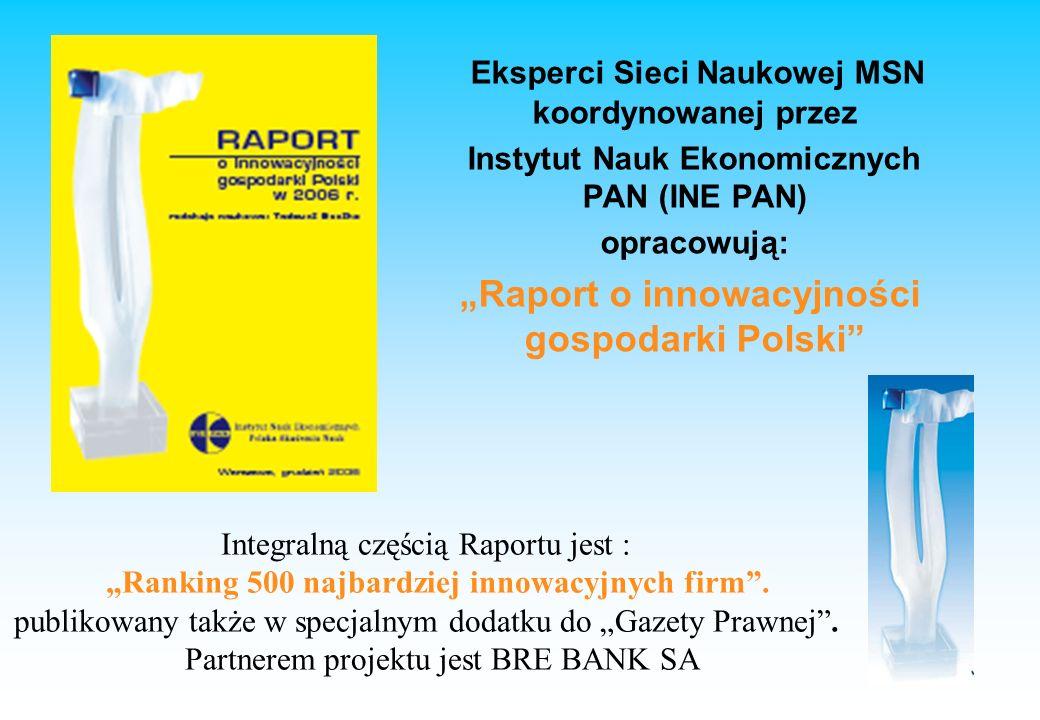 Eksperci Sieci Naukowej MSN koordynowanej przez Instytut Nauk Ekonomicznych PAN (INE PAN) opracowują: Raport o innowacyjności gospodarki Polski Integralną częścią Raportu jest : Ranking 500 najbardziej innowacyjnych firm.