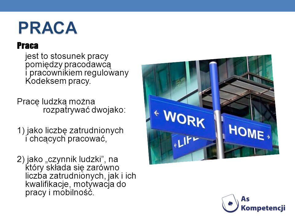 Praca jest to stosunek pracy pomiędzy pracodawcą i pracownikiem regulowany Kodeksem pracy.