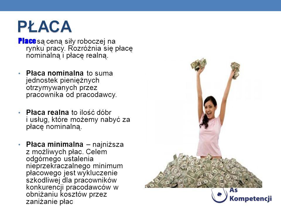 Płace są ceną siły roboczej na rynku pracy.Rozróżnia się płacę nominalną i płacę realną.