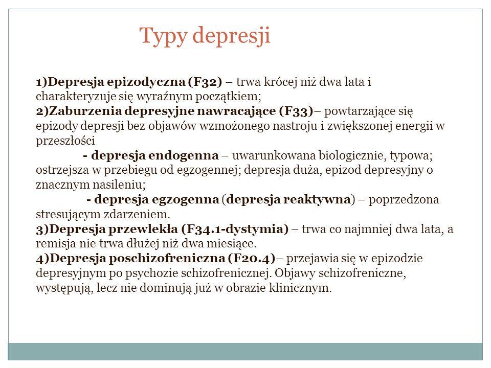 Typy depresji 1)Depresja epizodyczna (F32) – trwa krócej niż dwa lata i charakteryzuje się wyraźnym początkiem; 2)Zaburzenia depresyjne nawracające (F