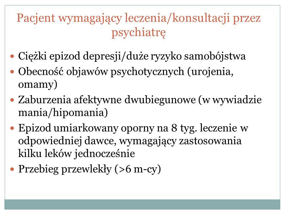 Pacjent wymagający leczenia/konsultacji przez psychiatrę Ciężki epizod depresji/duże ryzyko samobójstwa Obecność objawów psychotycznych (urojenia, oma