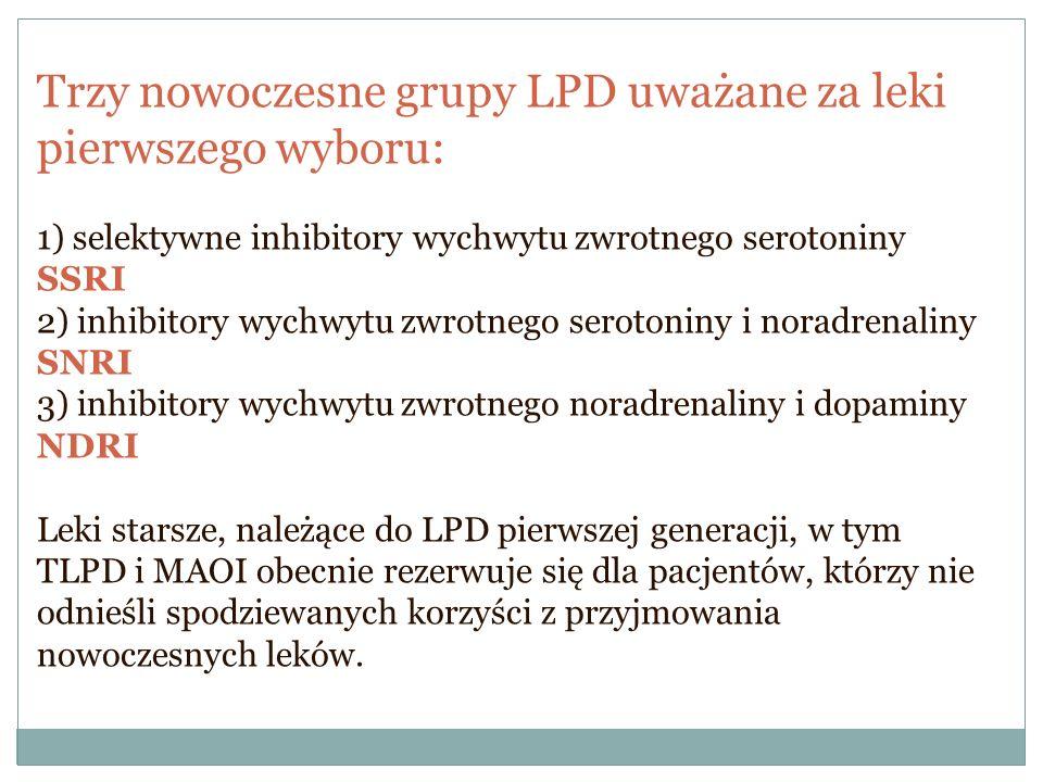 Trzy nowoczesne grupy LPD uważane za leki pierwszego wyboru: 1) selektywne inhibitory wychwytu zwrotnego serotoniny SSRI 2) inhibitory wychwytu zwrotn