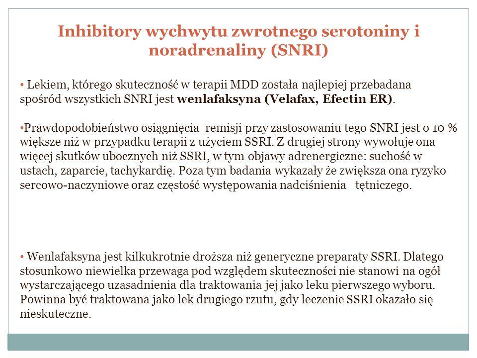 Inhibitory wychwytu zwrotnego serotoniny i noradrenaliny (SNRI) Lekiem, którego skuteczność w terapii MDD została najlepiej przebadana spośród wszystk