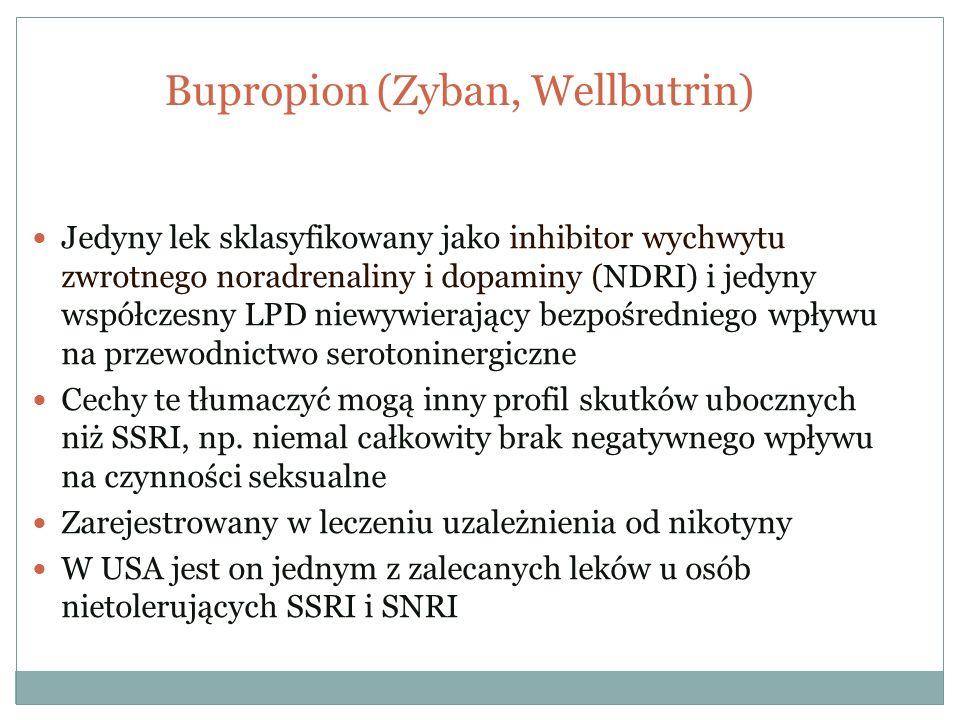 Bupropion (Zyban, Wellbutrin) Jedyny lek sklasyfikowany jako inhibitor wychwytu zwrotnego noradrenaliny i dopaminy (NDRI) i jedyny współczesny LPD nie
