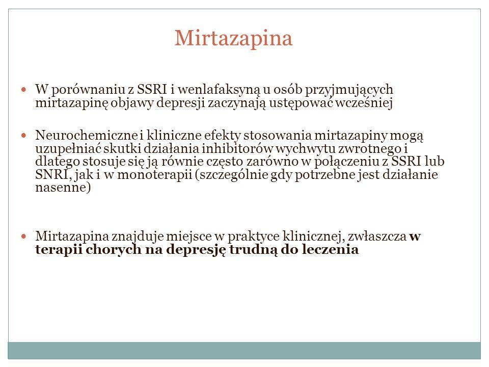 Mirtazapina W porównaniu z SSRI i wenlafaksyną u osób przyjmujących mirtazapinę objawy depresji zaczynają ustępować wcześniej Neurochemiczne i klinicz