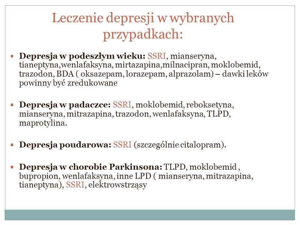 Leczenie depresji w wybranych przypadkach: Depresja w podeszłym wieku: SSRI, mianseryna, tianeptyna,wenlafaksyna, mirtazapina,milnacipran, moklobemid,