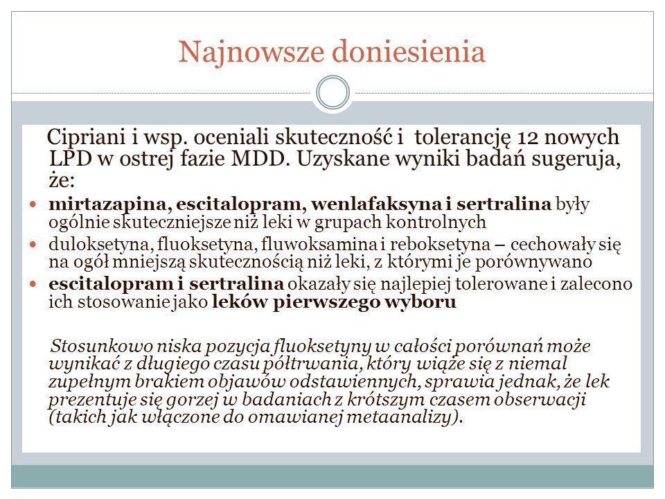 Najnowsze doniesienia Cipriani i wsp. oceniali skuteczność i tolerancję 12 nowych LPD w ostrej fazie MDD. Uzyskane wyniki badań sugeruja, że: mirtazap