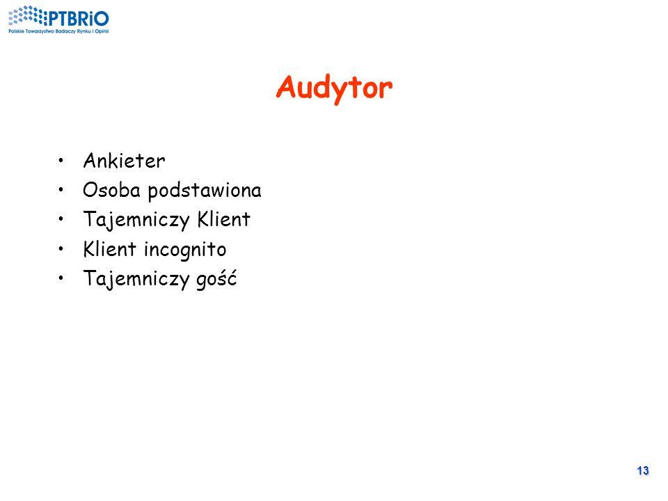 12 Jakie podmioty? Zleceniodawca – wyznacza standardy Audytor (z agencji) – obserwuje wykonanie standardów Agencja – ocenia standardy Badany (osoba ob