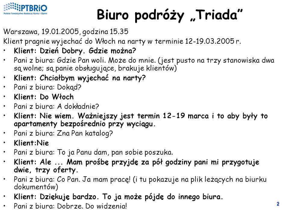 2 Biuro podróży Triada Warszawa, 19.01.2005, godzina 15.35 Klient pragnie wyjechać do Włoch na narty w terminie 12-19.03.2005 r.