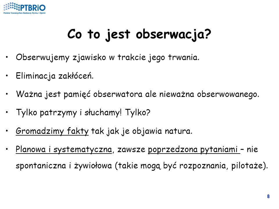 8 Co to jest obserwacja.Obserwujemy zjawisko w trakcie jego trwania.