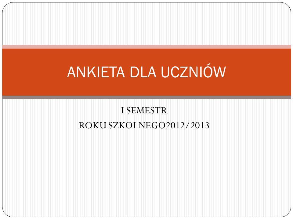I SEMESTR ROKU SZKOLNEGO2012/2013 ANKIETA DLA UCZNIÓW