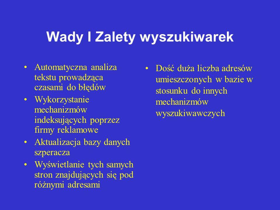 Wyszukiwarki Tekstowe - Działanie INTERNET Baza danych