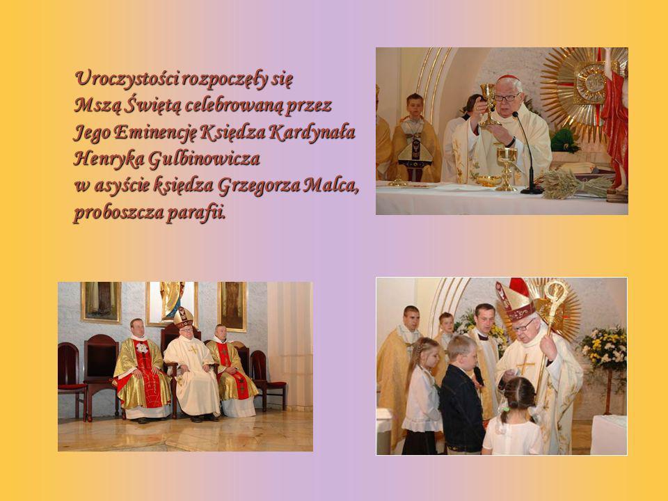 Uroczystości rozpoczęły się Mszą Świętą celebrowaną przez Jego Eminencję Księdza Kardynała Henryka Gulbinowicza w asyście księdza Grzegorza Malca, proboszcza parafii.