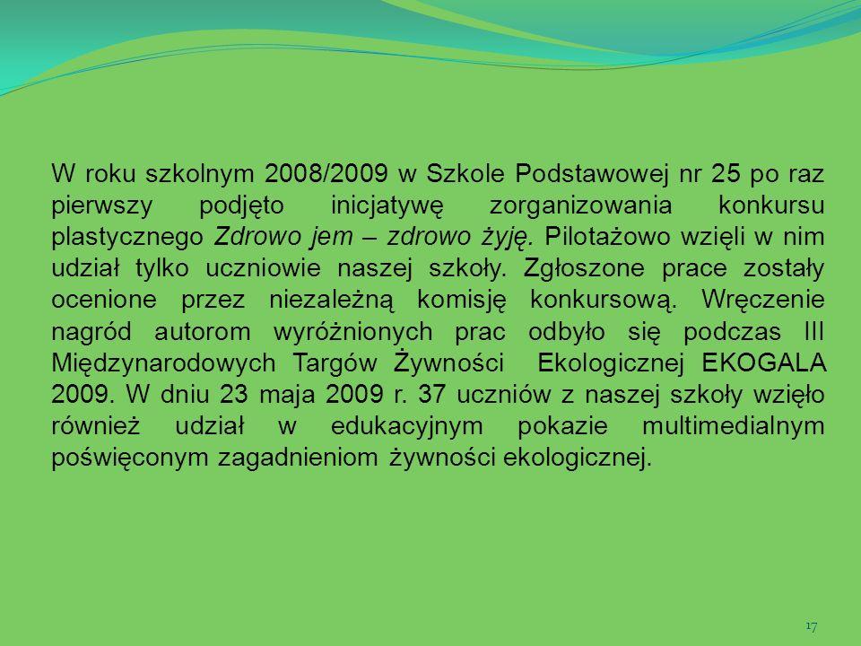 17 W roku szkolnym 2008/2009 w Szkole Podstawowej nr 25 po raz pierwszy podjęto inicjatywę zorganizowania konkursu plastycznego Zdrowo jem – zdrowo ży