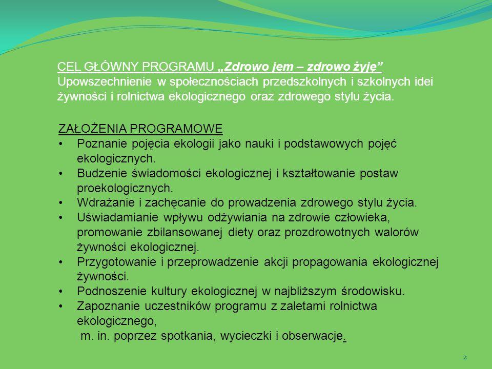 2 ZAŁOŻENIA PROGRAMOWE Poznanie pojęcia ekologii jako nauki i podstawowych pojęć ekologicznych. Budzenie świadomości ekologicznej i kształtowanie post