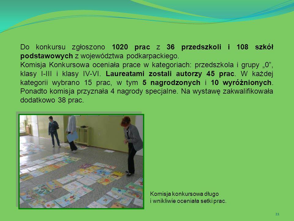 21 Do konkursu zgłoszono 1020 prac z 36 przedszkoli i 108 szkół podstawowych z województwa podkarpackiego. Komisja Konkursowa oceniała prace w kategor