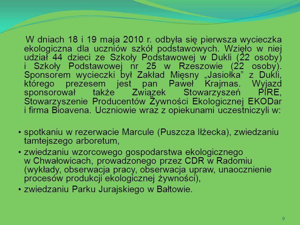 9 W dniach 18 i 19 maja 2010 r. odbyła się pierwsza wycieczka ekologiczna dla uczniów szkół podstawowych. Wzięło w niej udział 44 dzieci ze Szkoły Pod