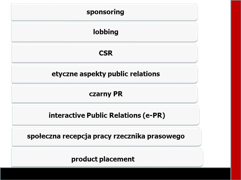 sponsoring lobbing CSR etyczne aspekty public relations czarny PR interactive Public Relations (e-PR) społeczna recepcja pracy rzecznika prasowego pro