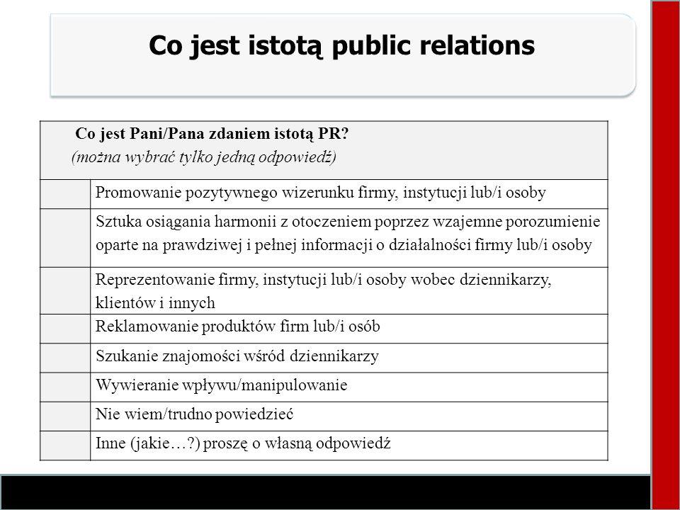 Co jest istotą public relations Co jest Pani/Pana zdaniem istotą PR? (można wybrać tylko jedną odpowiedź) Promowanie pozytywnego wizerunku firmy, inst
