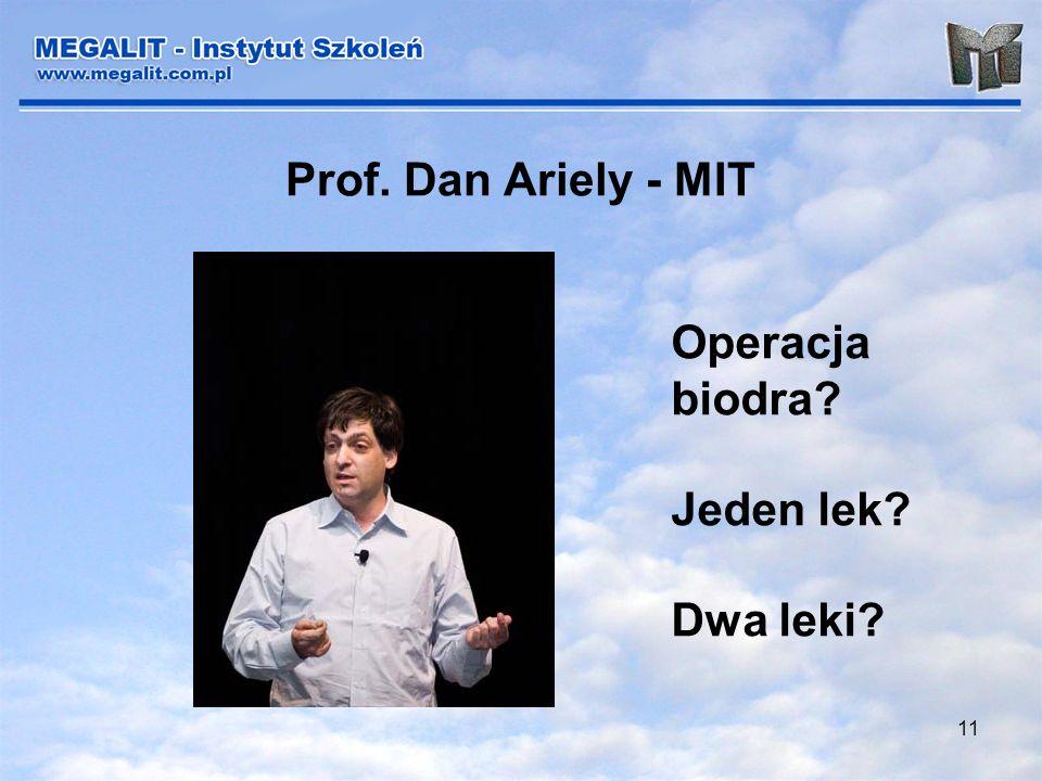 11 Prof. Dan Ariely - MIT Operacja biodra? Jeden lek? Dwa leki?