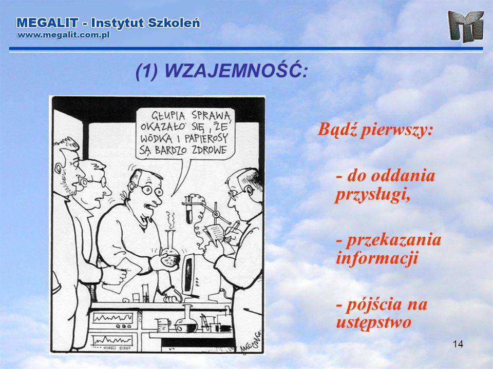 14 (1) WZAJEMNOŚĆ: Bądź pierwszy: - do oddania przysługi, - przekazania informacji - pójścia na ustępstwo