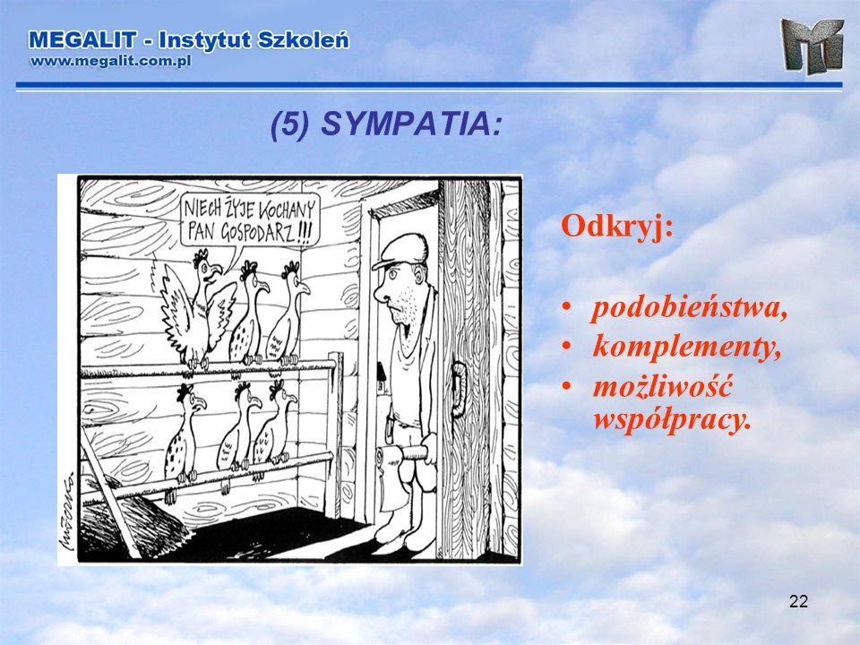 22 (5) SYMPATIA: Odkryj: podobieństwa, komplementy, możliwość współpracy.