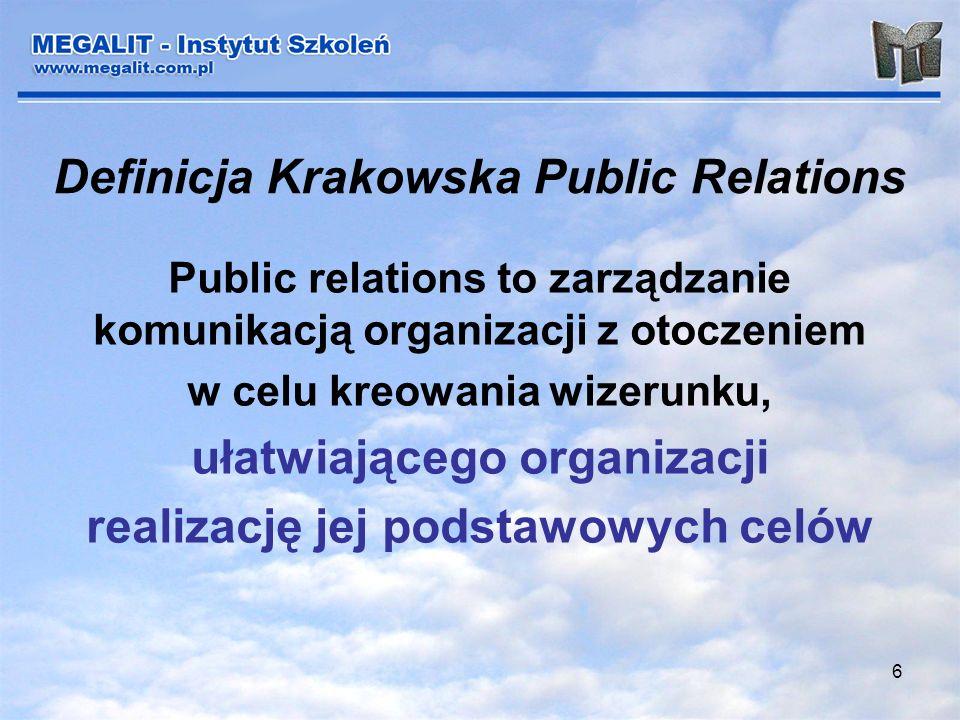 6 Definicja Krakowska Public Relations Public relations to zarządzanie komunikacją organizacji z otoczeniem w celu kreowania wizerunku, ułatwiającego