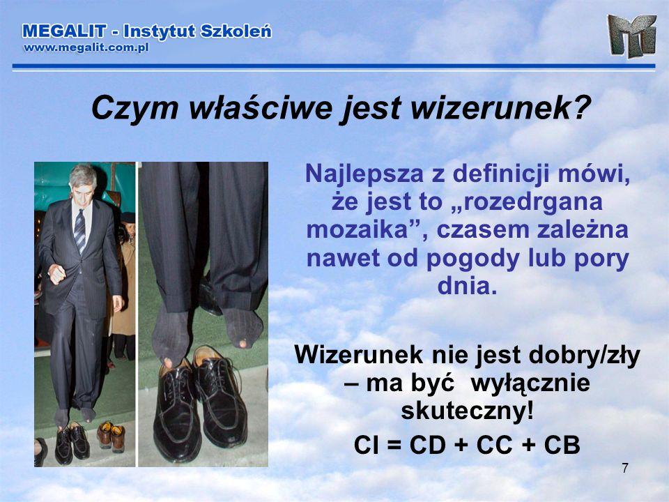 7 Czym właściwe jest wizerunek? Najlepsza z definicji mówi, że jest to rozedrgana mozaika, czasem zależna nawet od pogody lub pory dnia. Wizerunek nie