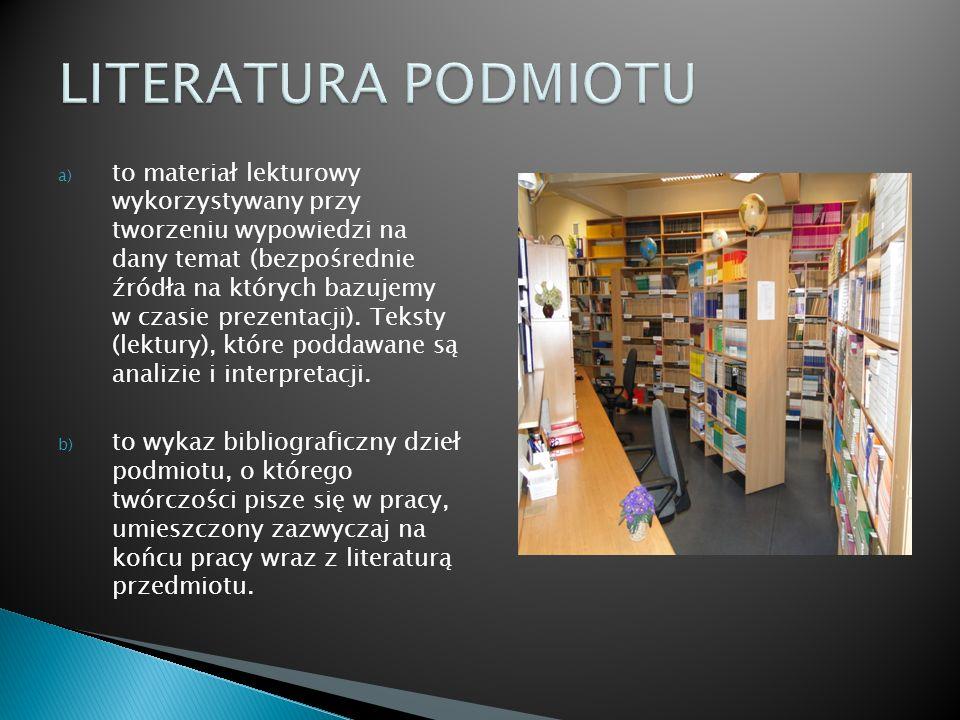 a) to materiał lekturowy wykorzystywany przy tworzeniu wypowiedzi na dany temat (bezpośrednie źródła na których bazujemy w czasie prezentacji). Teksty