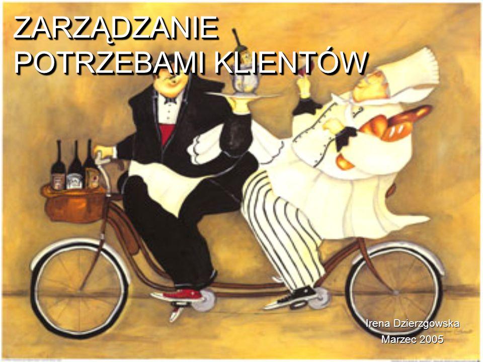 ZARZĄDZANIE POTRZEBAMI KLIENTÓW ZARZĄDZANIE POTRZEBAMI KLIENTÓW Irena Dzierzgowska Marzec 2005
